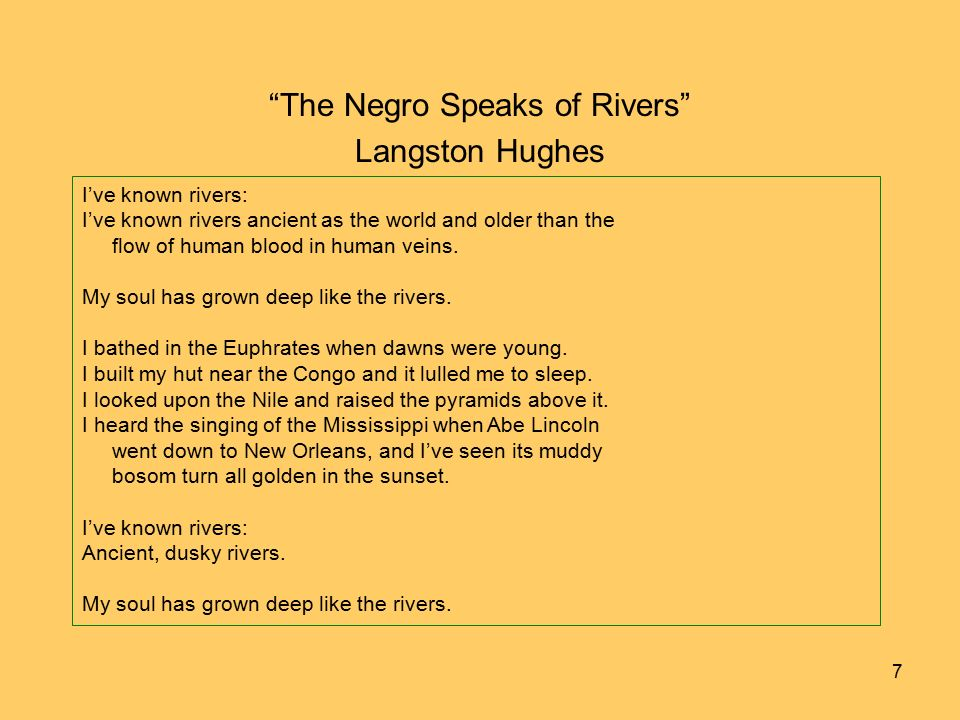 an analysis of negro by langston hughes The negro mother by langston hughes children i come back today to tell you a story of the long dark way that i had to climb that i had to know in order that the race might live and grow.