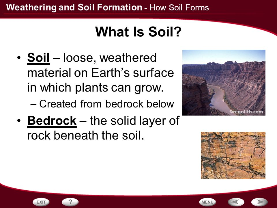 Table of contents rocks and weathering how soil forms for Explain soil