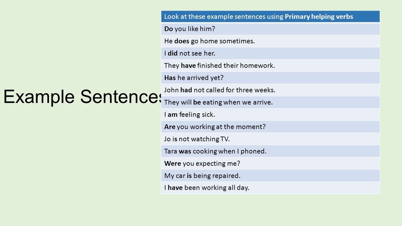 Worksheets Example Of Verbs In Sentence verb forms ppt download look at these example sentences using primary helping verbs