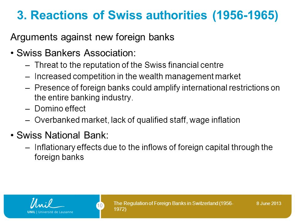 3. Reactions of Swiss authorities (1956-1965)