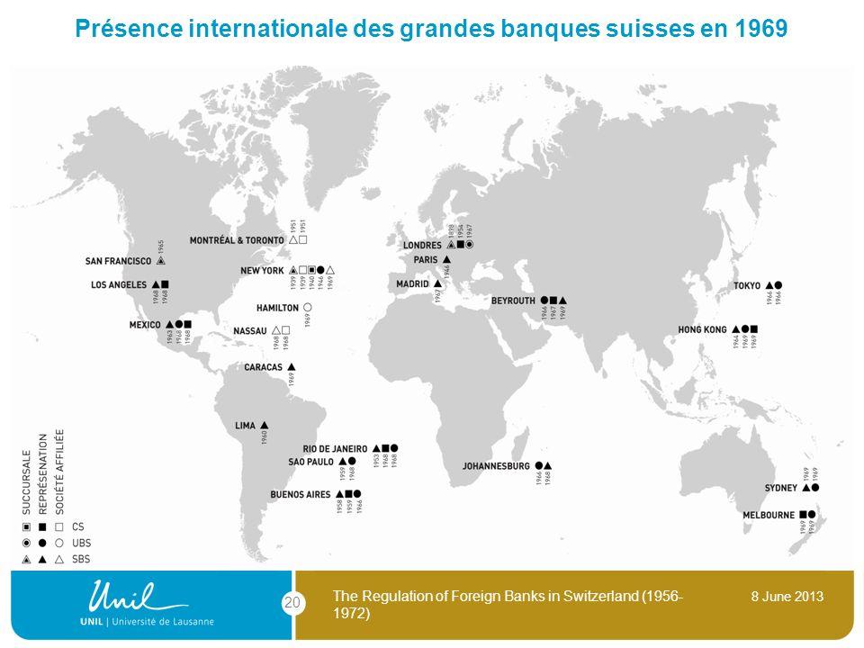 Présence internationale des grandes banques suisses en 1969