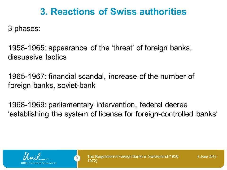 3. Reactions of Swiss authorities