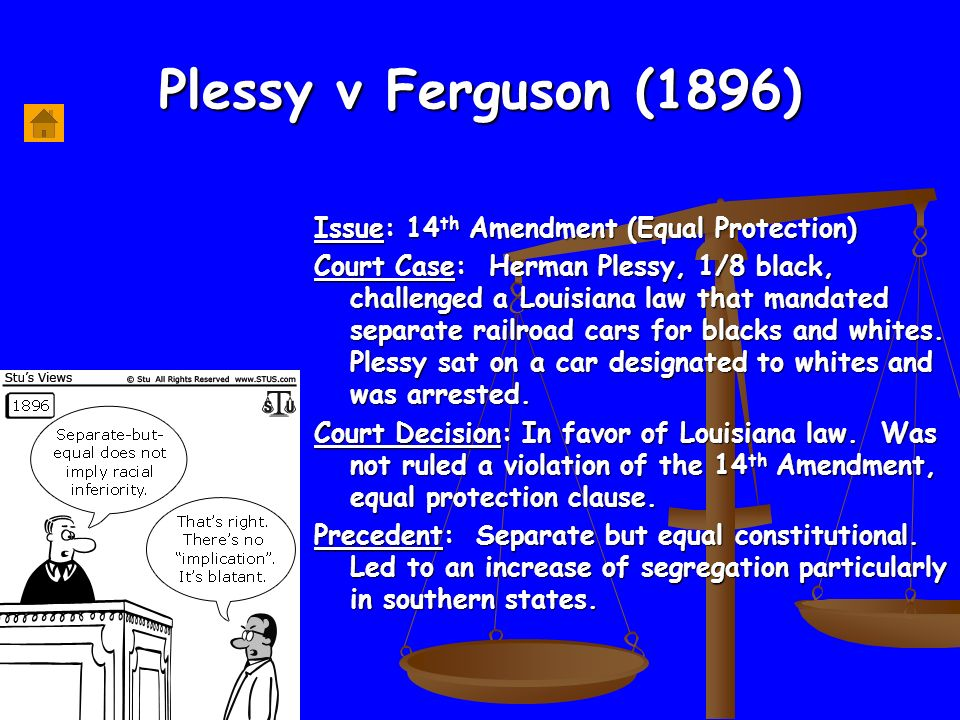 an analysis of the case of separate but equal Separate but equal summary essaysit is hard in this time and age to be able to imagine a world of segregation of a people or a color, but that it happened in the time of our fathers is more amazing there were many factors that lent themselves to the supreme court case involving segregation prob.