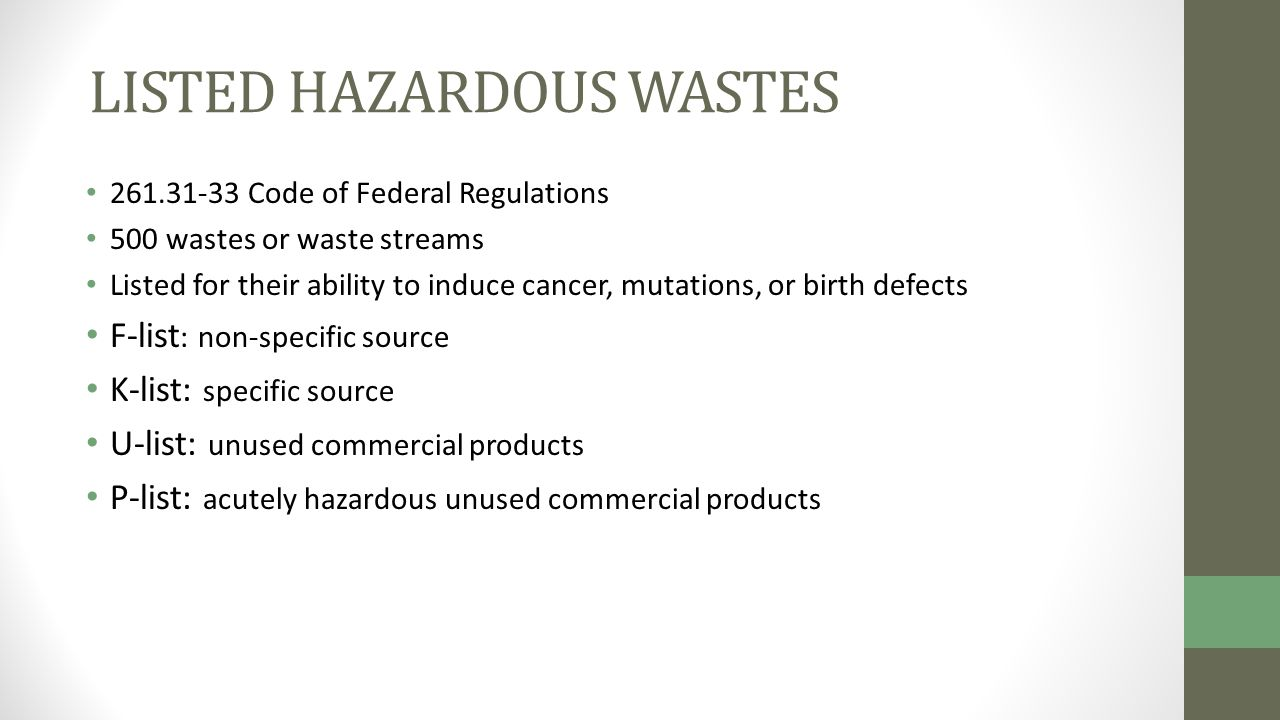 Solid and hazardous waste ppt video online download 38 listed hazardous wastes sciox Image collections