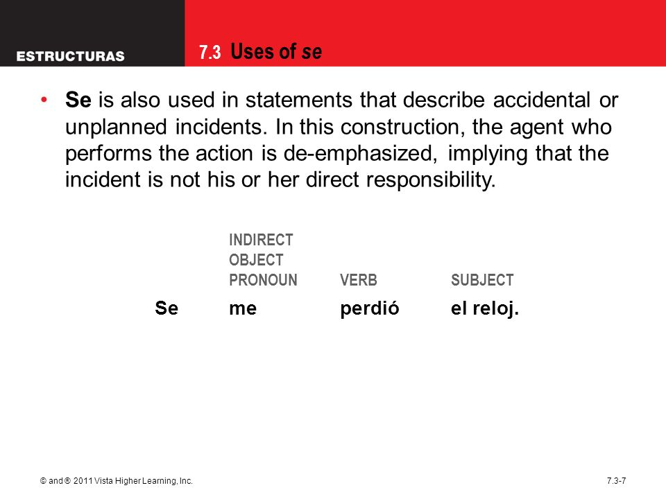 Se is also used in statements that describe accidental or unplanned incidents. In this construction, the agent who performs the action is de-emphasized, implying that the incident is not his or her direct responsibility.