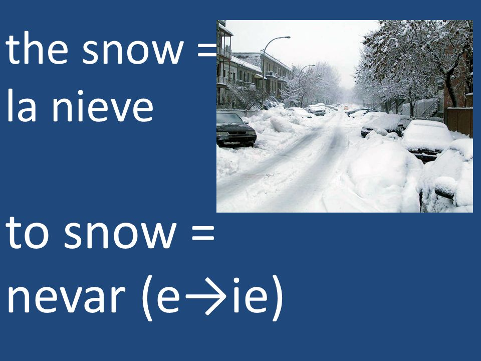 the snow = la nieve to snow = nevar (e→ie)