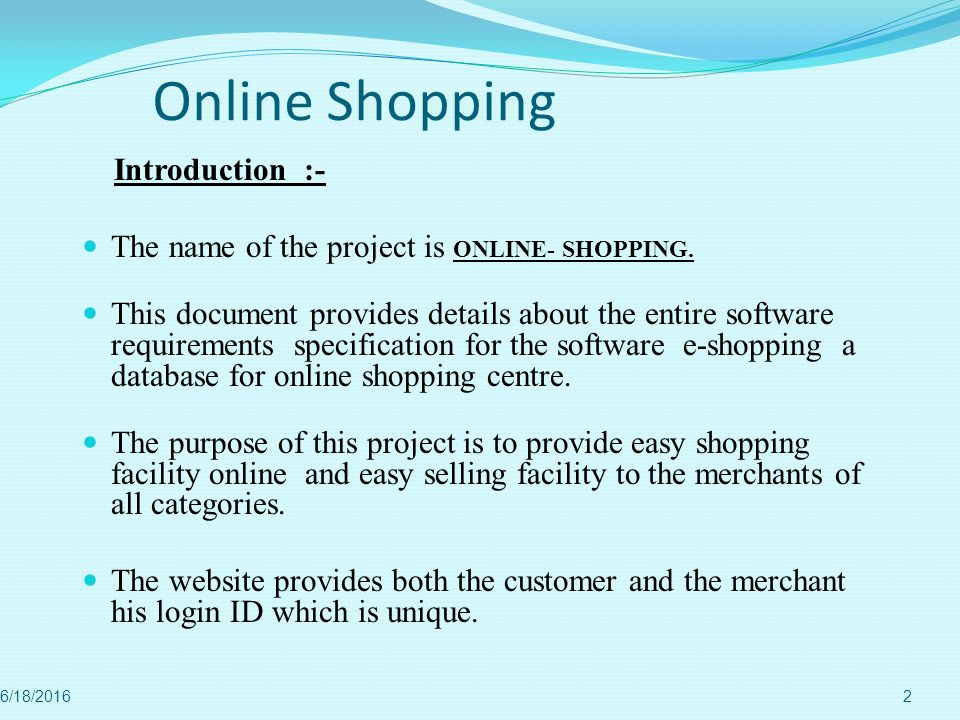 Online Shopping Introduction :-