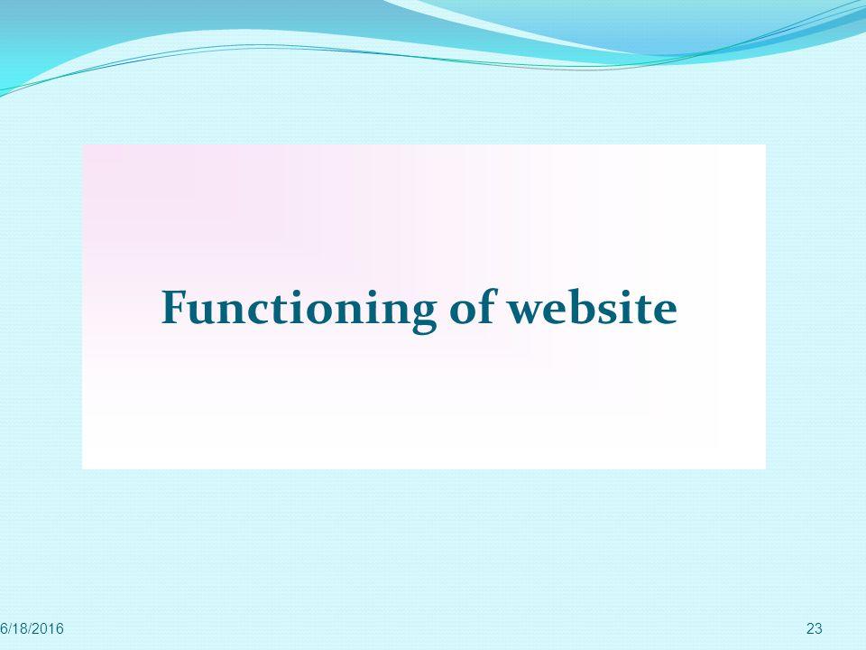 Functioning of website