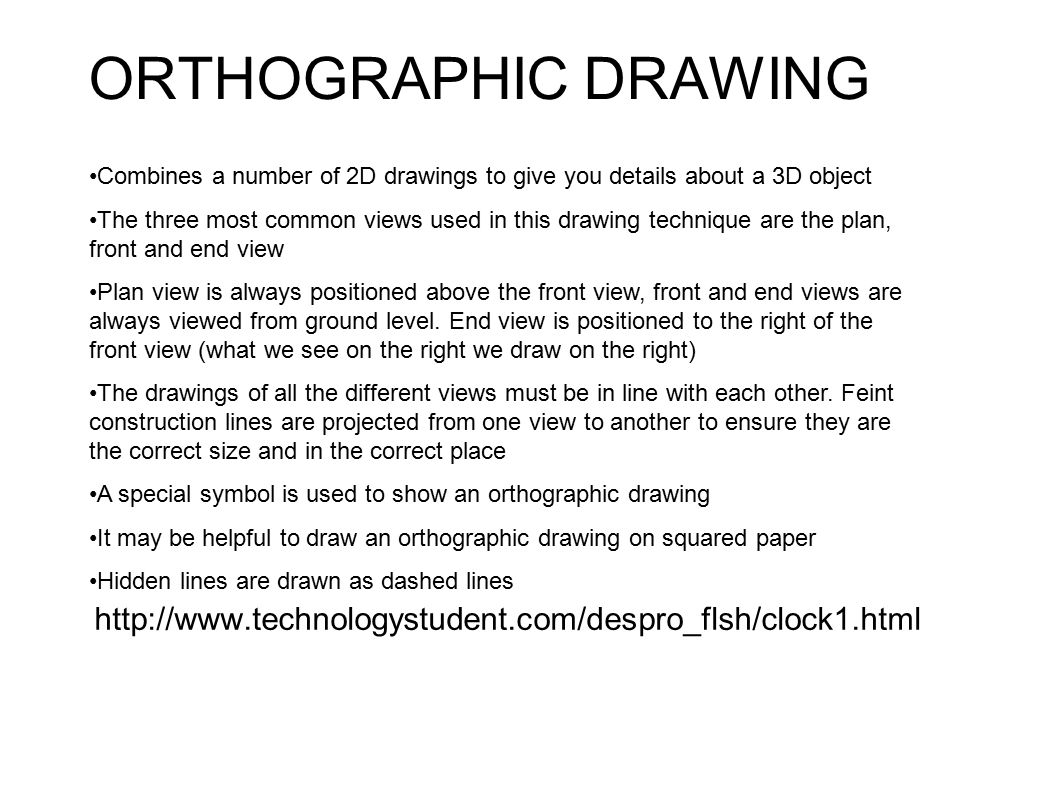 Orthographic drawing combines a number of 2d drawings to give you details about a 3d object