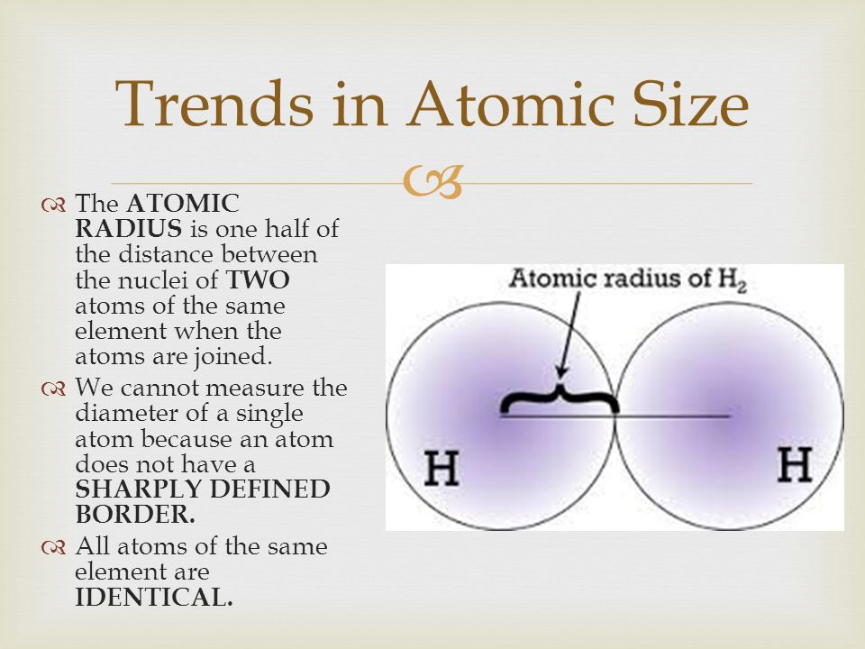 3 trends - Define Periodic Table Atomic Radius