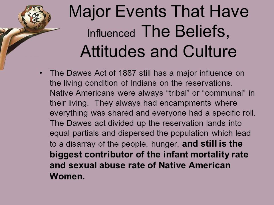 Major Events That Have Influenced The Beliefs, Attitudes and Culture