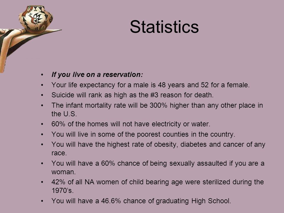 Statistics If you live on a reservation: