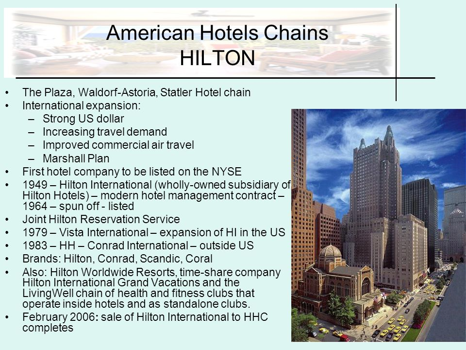 Accommodations and hospitality services ppt download for What hotel chains does hilton own