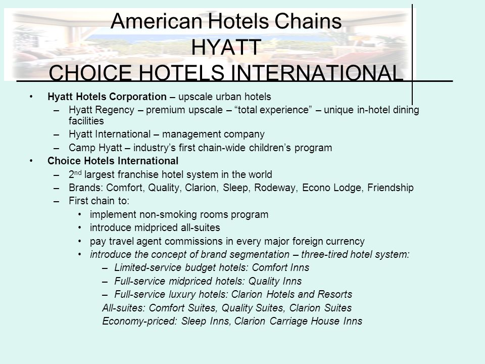 Accommodations and hospitality services ppt download for Hotels all over the world