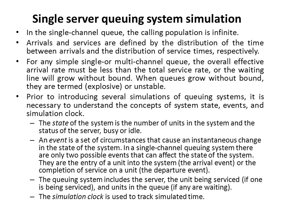 simulation of a bank queue Contents • models and some modelling terminology • how a discrete-event  simulation works • the classic example - the queue in the bank.