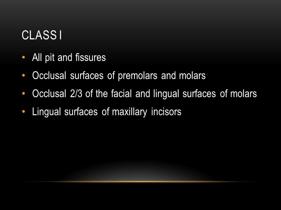 Class I All pit and fissures Occlusal surfaces of premolars and molars