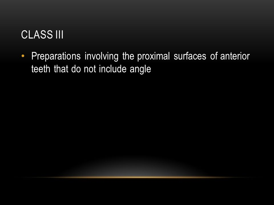 Class III Preparations involving the proximal surfaces of anterior teeth that do not include angle
