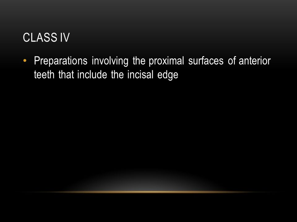 Class IV Preparations involving the proximal surfaces of anterior teeth that include the incisal edge.