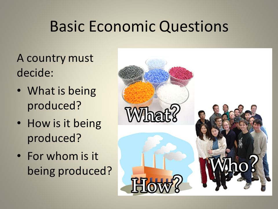 basic economic questions As an entrepreneur and as an economic agent, there are three basic economic questions you should ask when deciding how to allocate scarce resources.
