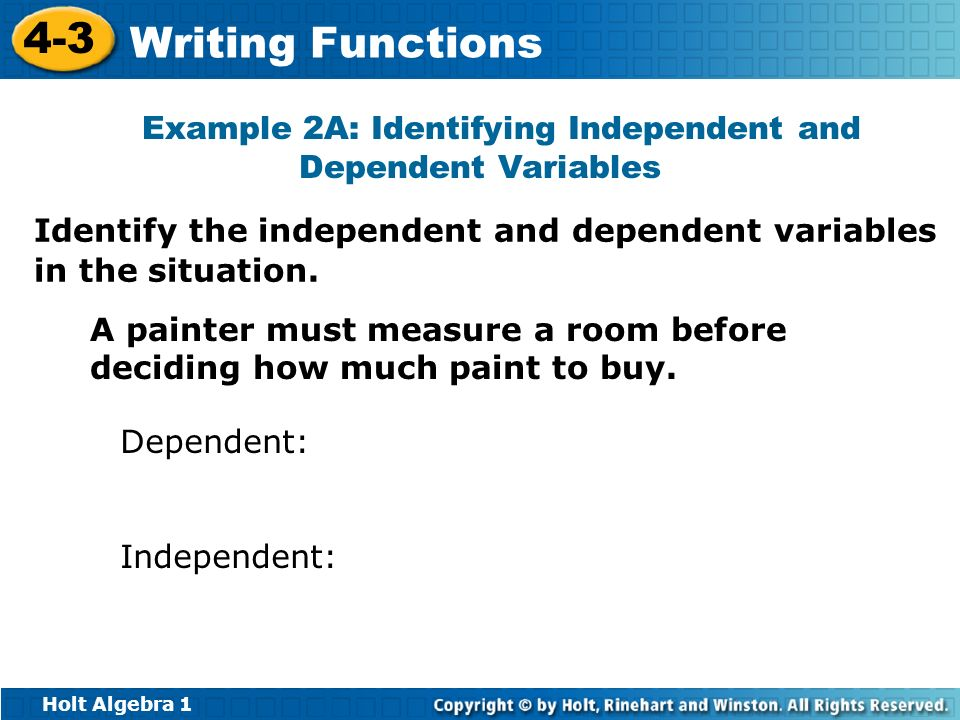 Example 2a Identifying Independent And Dependent Variables Ppt