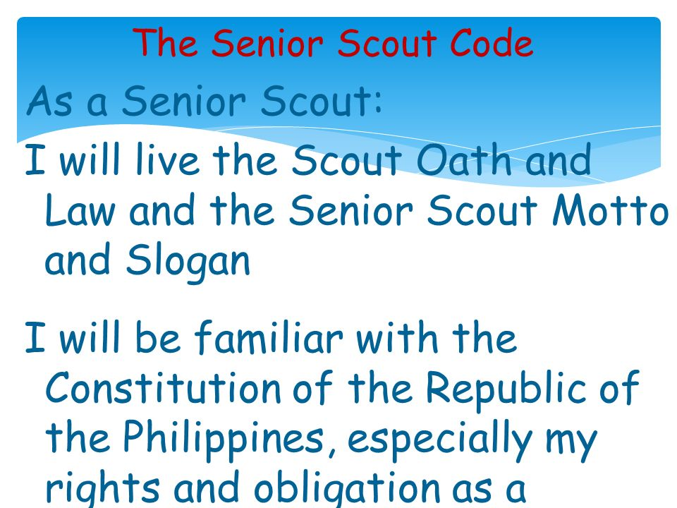 The Senior Scout Code
