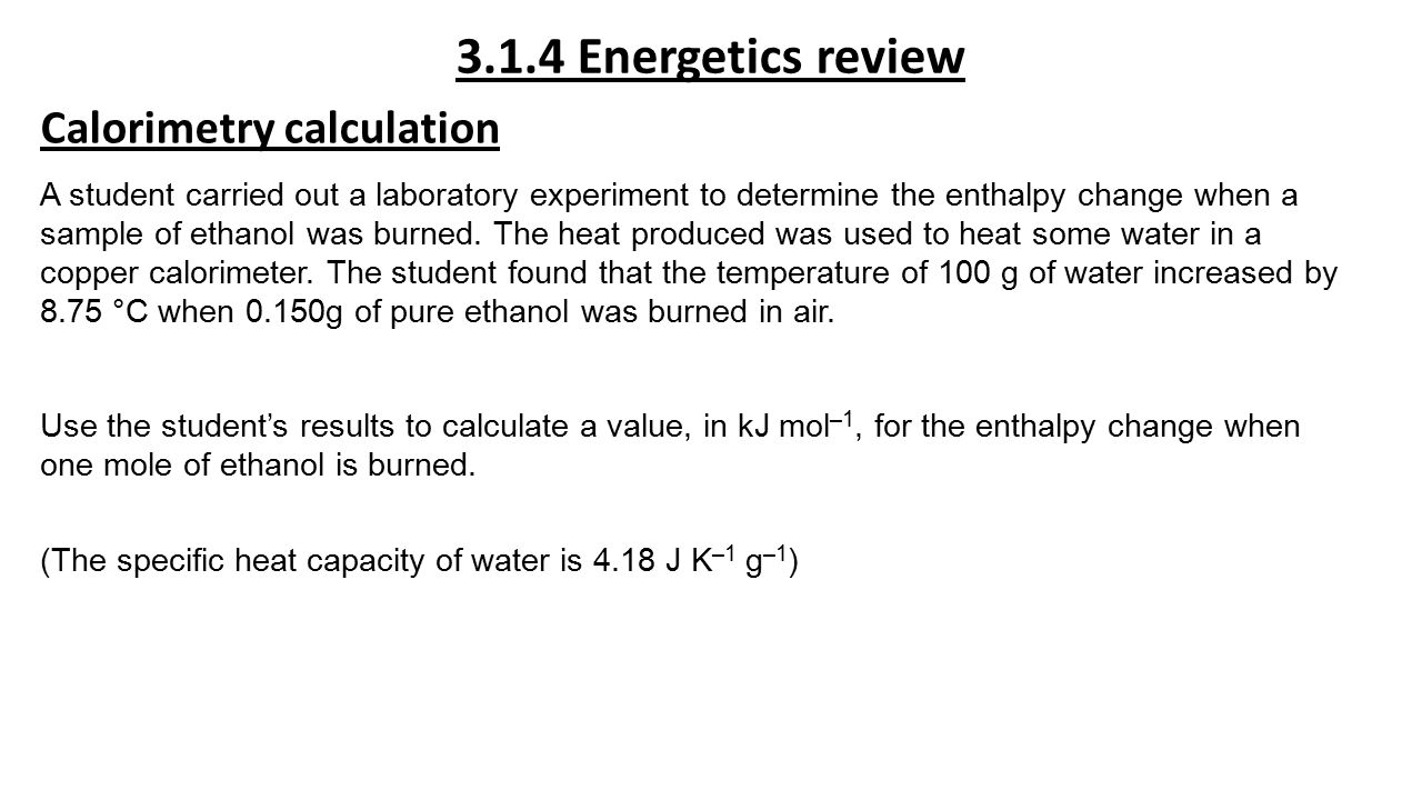 the calculation of various metals heat using calorimetry • calculate the transfer of thermal • use heat capaciti es to determine the object in a water bath at a different initial temperature than the metal and.