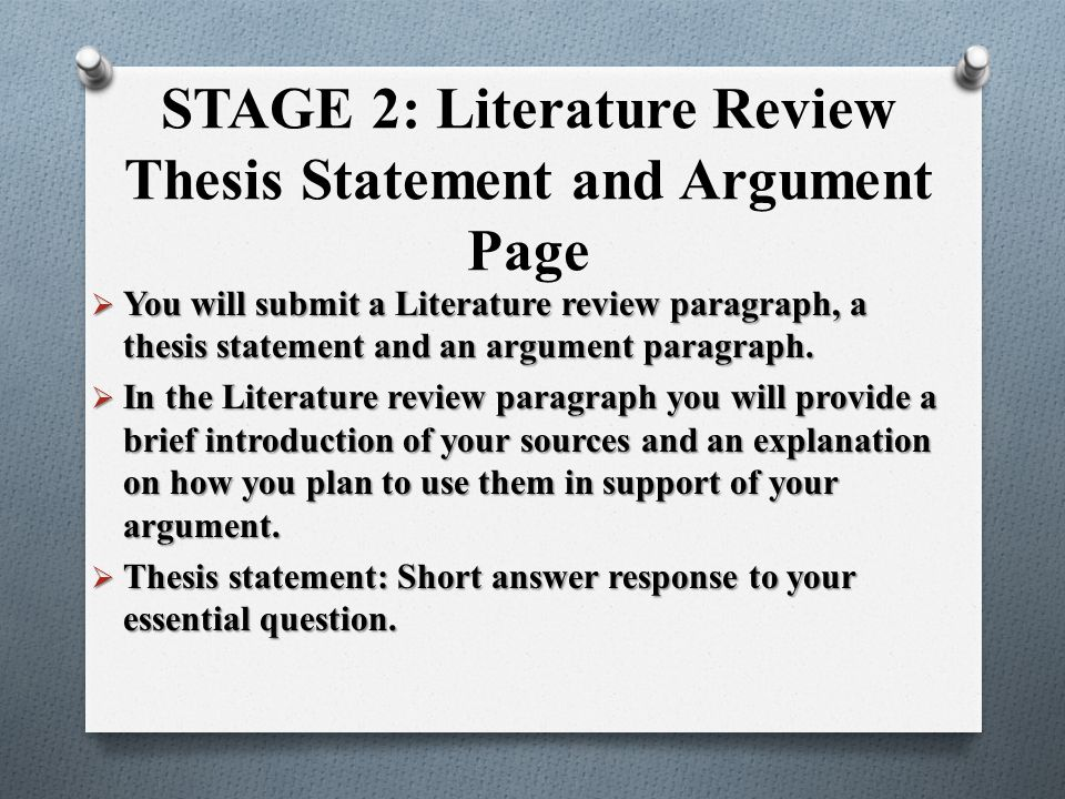 Writing Thesis in Literature