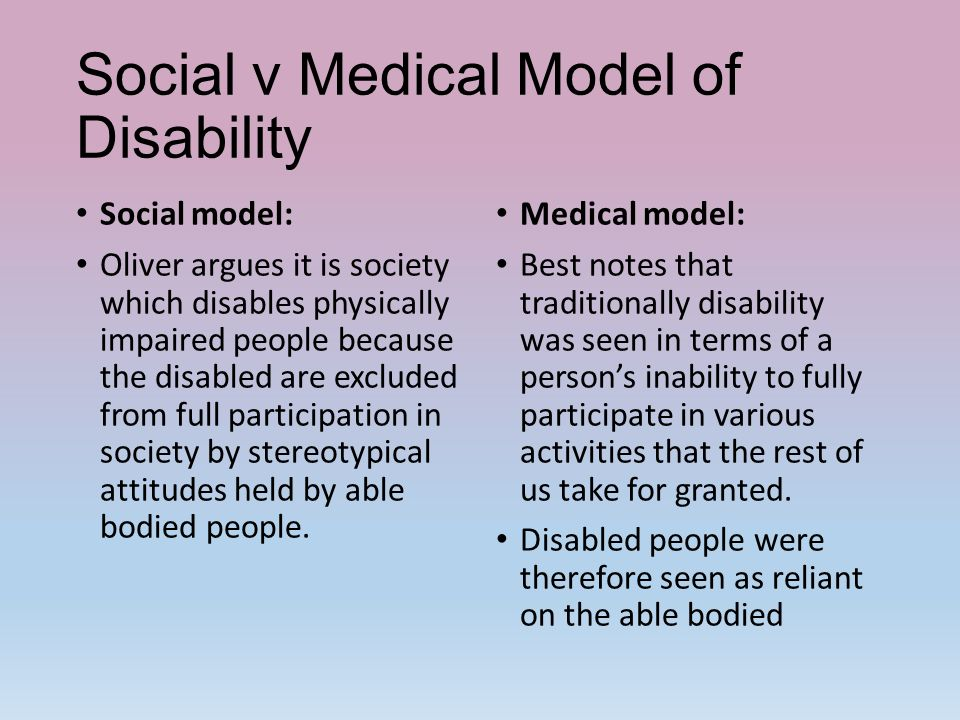 social model of disability A social model of disability moves the location of the disability out of the person and into social structures it recognizes that social perceptions, attitudes, institutions, and policies.