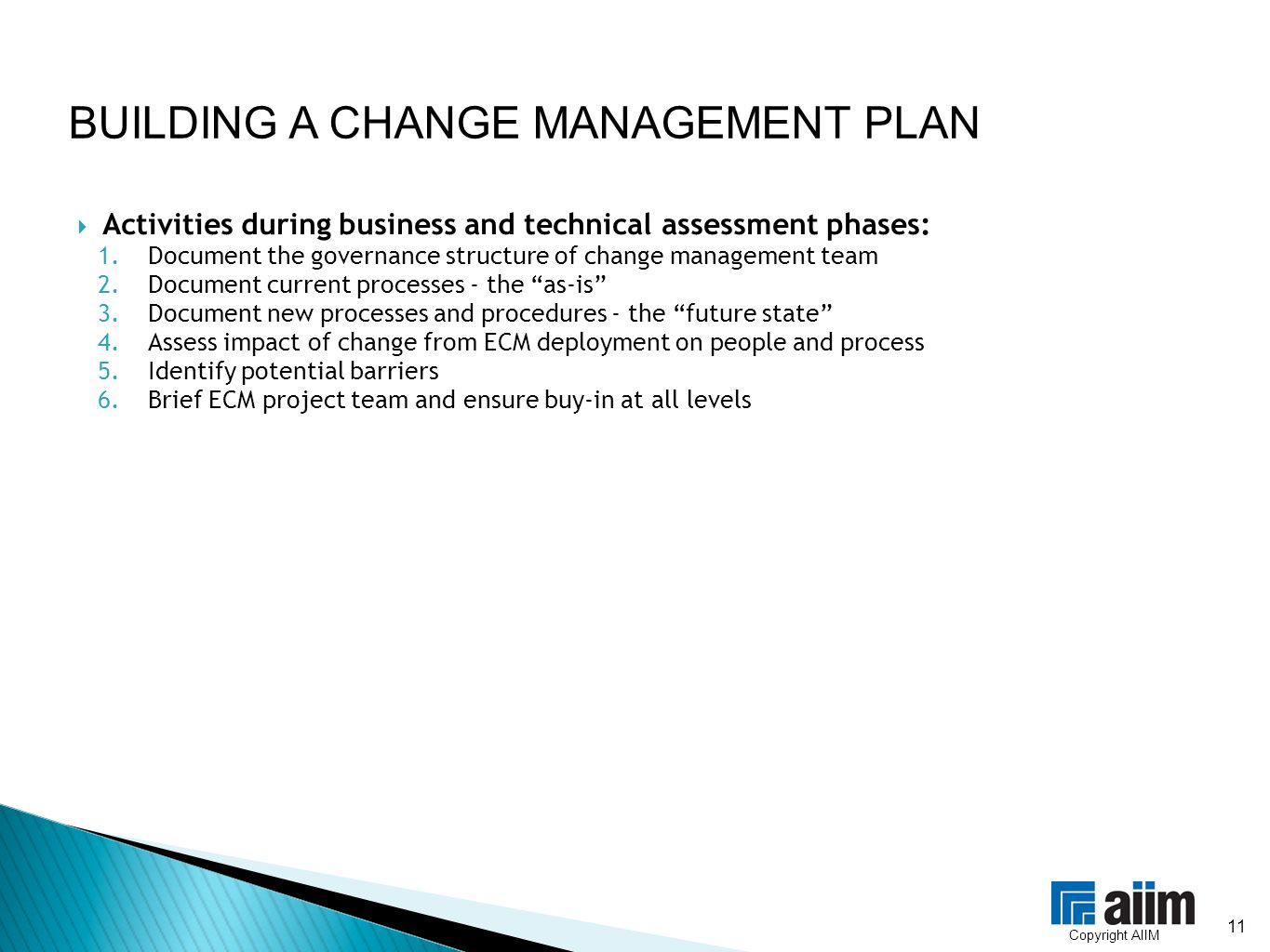 change in business plan
