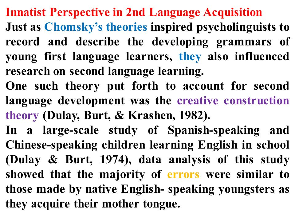 COMPARING AND CONTRASTING FIRST AND SECOND LANGUAGE ACQUISITION