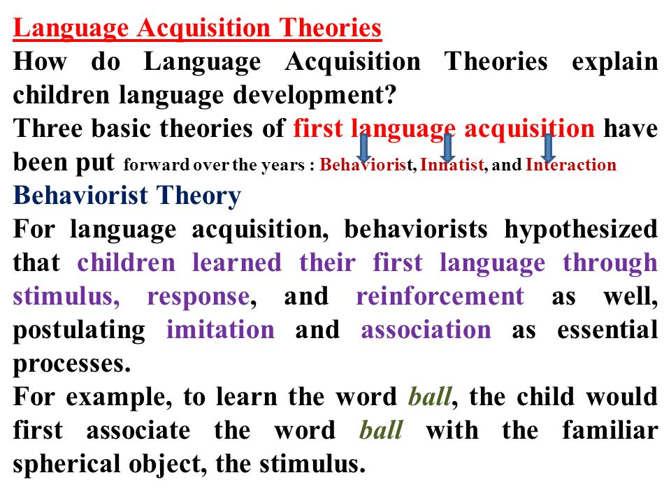 Language acquistion theory