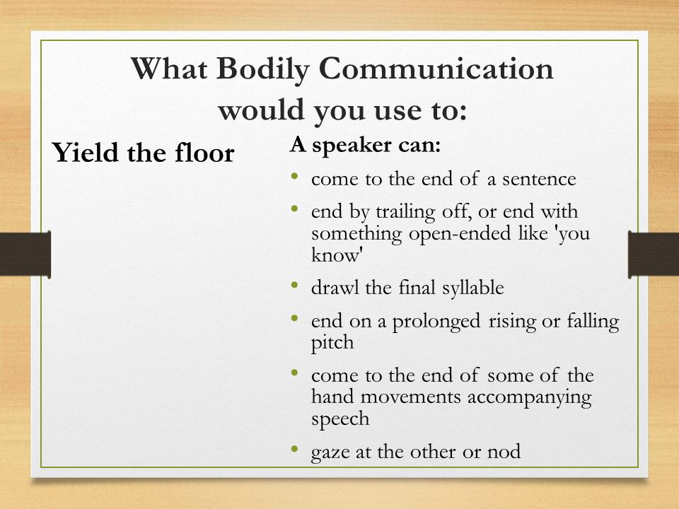 Training in non verbal communication ppt video online for Sentence of floor