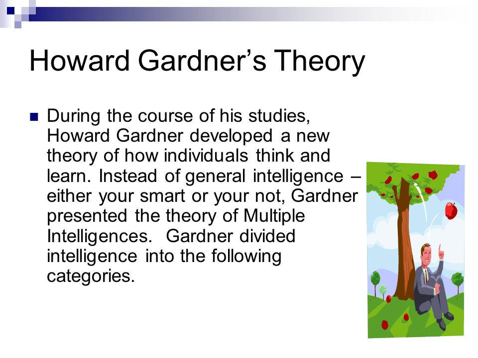 howard gardner the theory of multiple intelligences essay Sample essay paragraphs please  of howard gardners multiple intelligence theory the theory of  pertaining to multiple intelligences before gardner was.