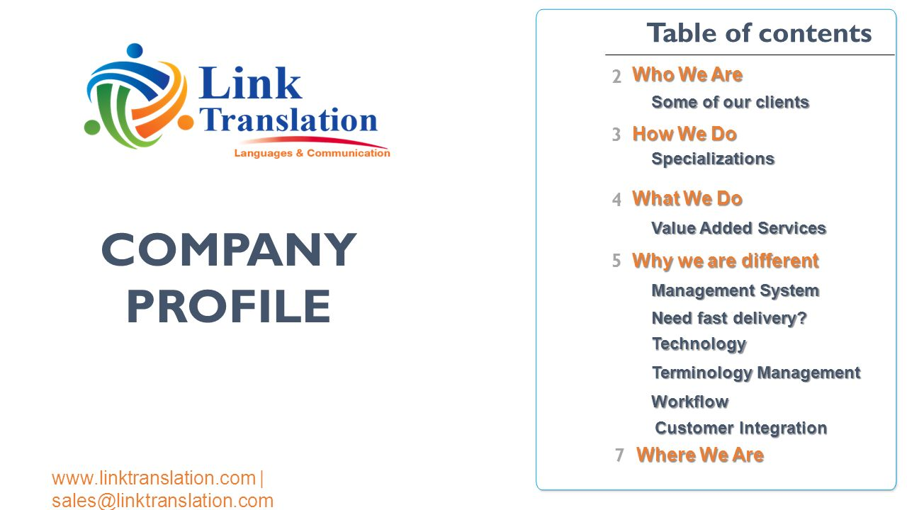 100 Table Of Contents Company Profile