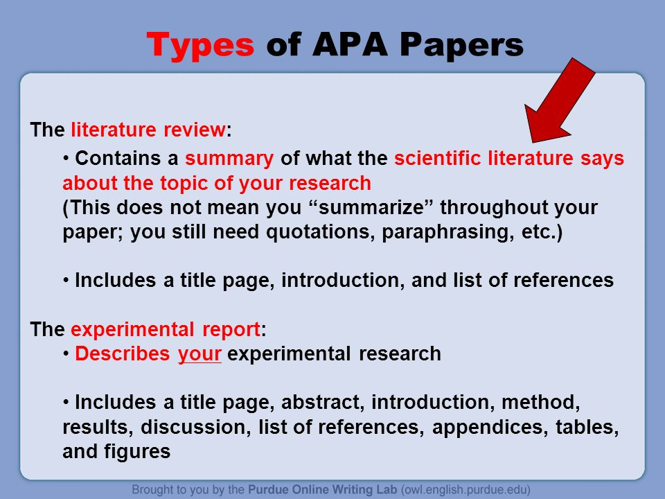 review of the literature apa Dr diane gehart provides a brief overview for conducting an apa-style review of the literature this lecture should help undergraduate and graduate students writing literature reviews get started also visit http://wwwmasteringcompetencies com and http://wwwdianegehartcom for more free resources.
