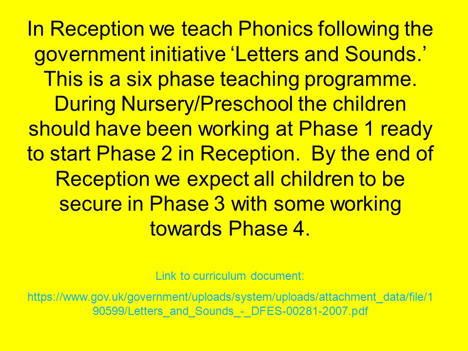 Letter And Sounds Phase  Gov