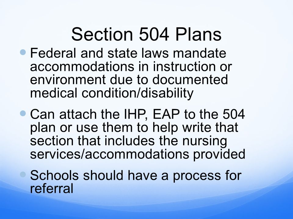 Writing a section 504 plan