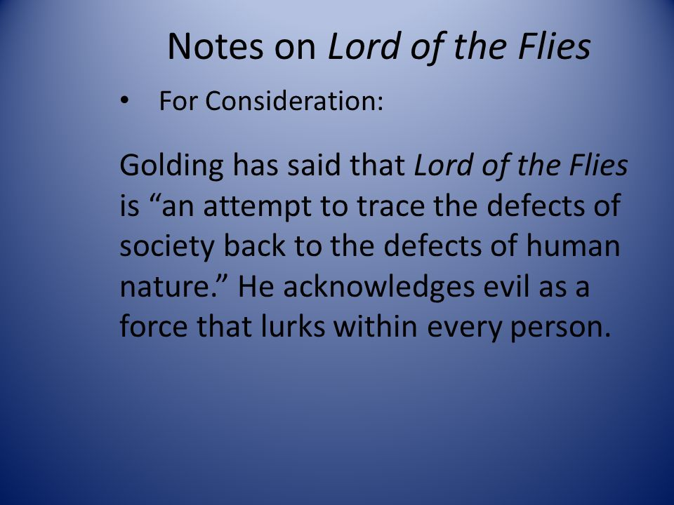 essay about evil in lord of the flies Analysis of the lord of the flies print evil wins in lord of the flies  if you are the original writer of this essay and no longer wish to have the.