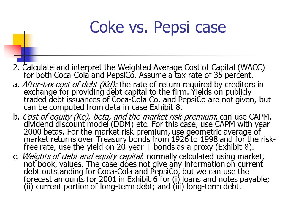 PepsiCo Inc Cost Of Capital Case Study Help - Case Solution & Analysis
