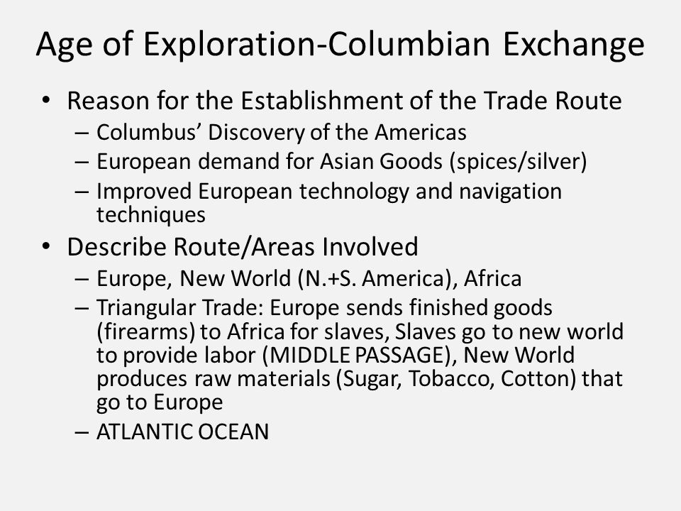 movement of people and goods thematic essay ppt video online  2 age of exploration columbian exchange
