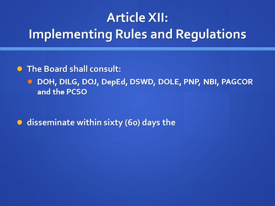 article 36 rules not to mention regulations