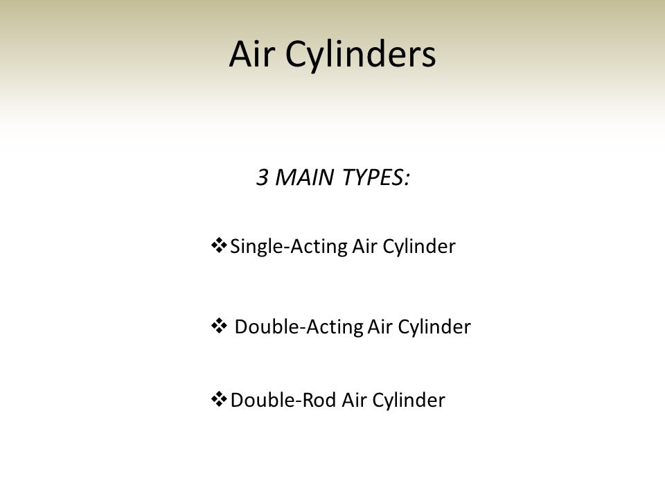 Air Cylinders 3 MAIN TYPES: Single-Acting Air Cylinder