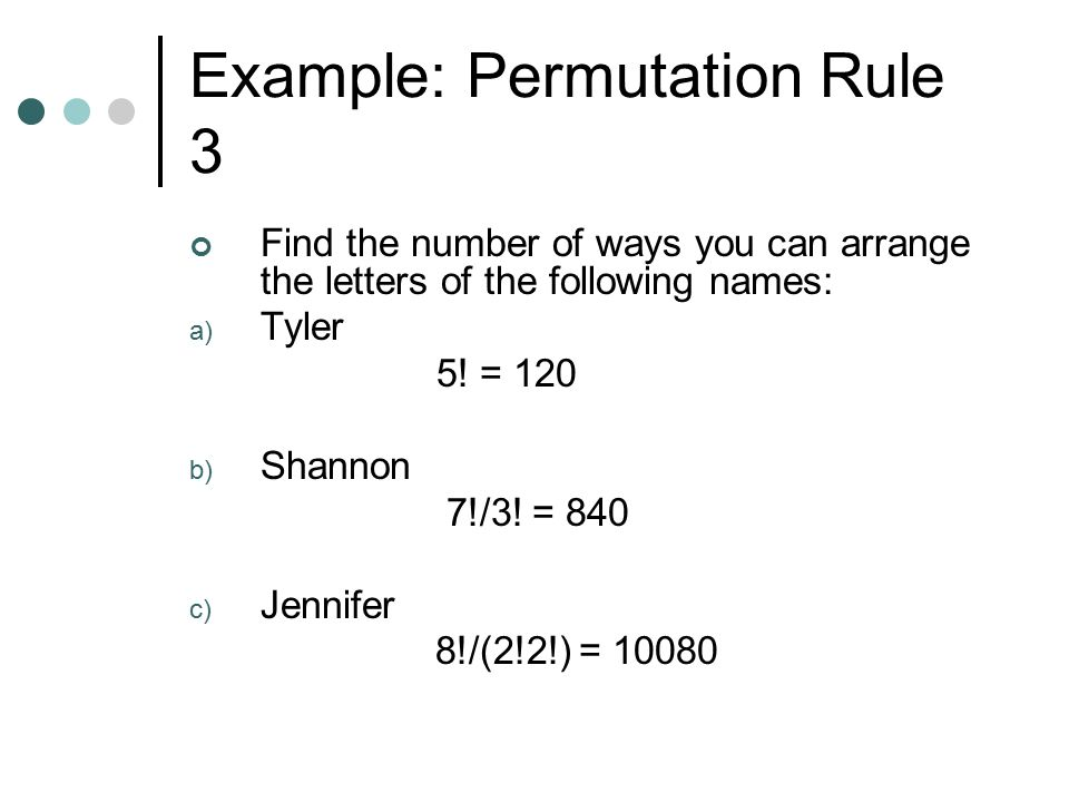 Example: Permutation Rule 3