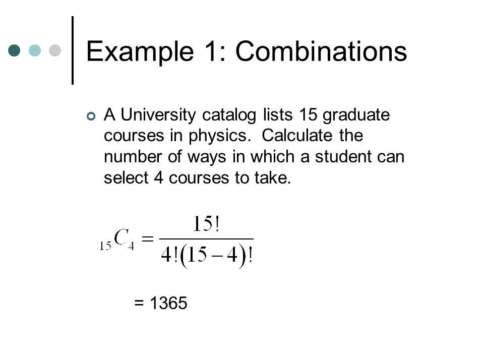 Example 1: Combinations