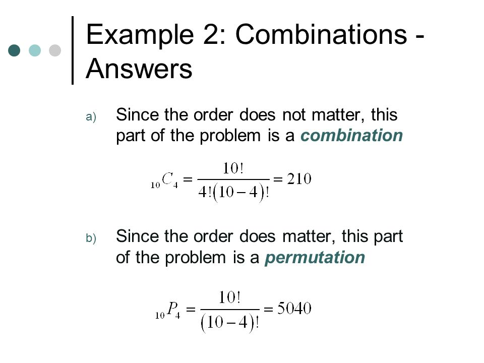 Example 2: Combinations - Answers