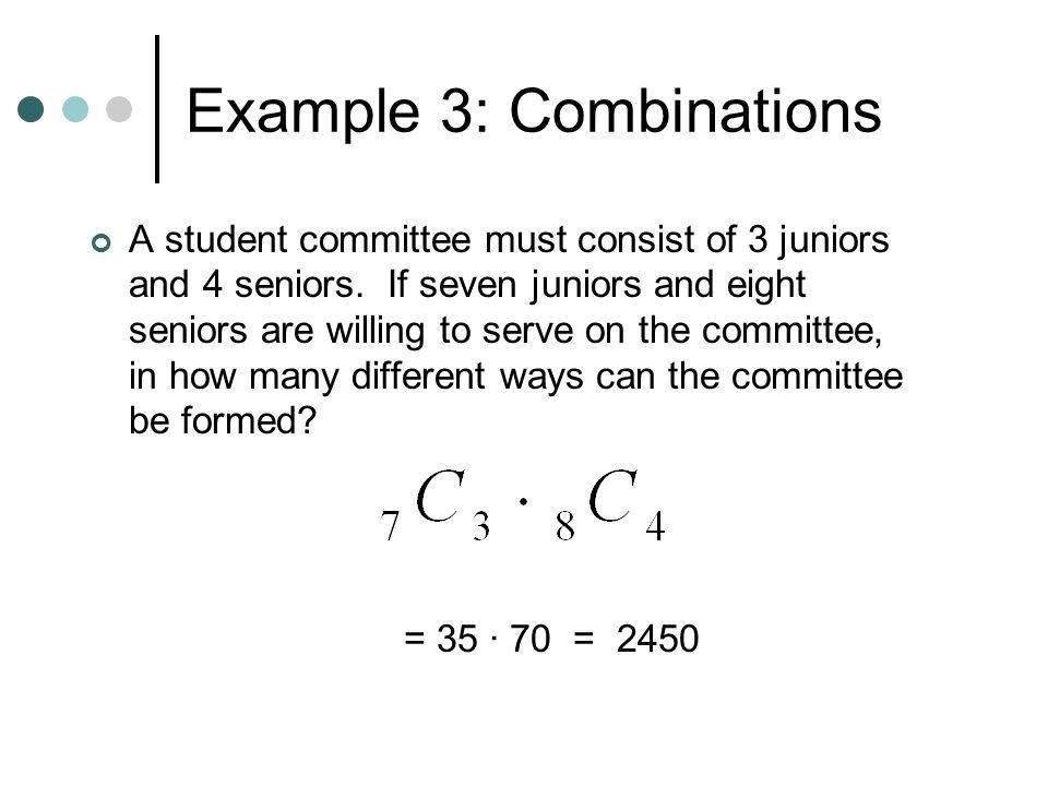 Example 3: Combinations