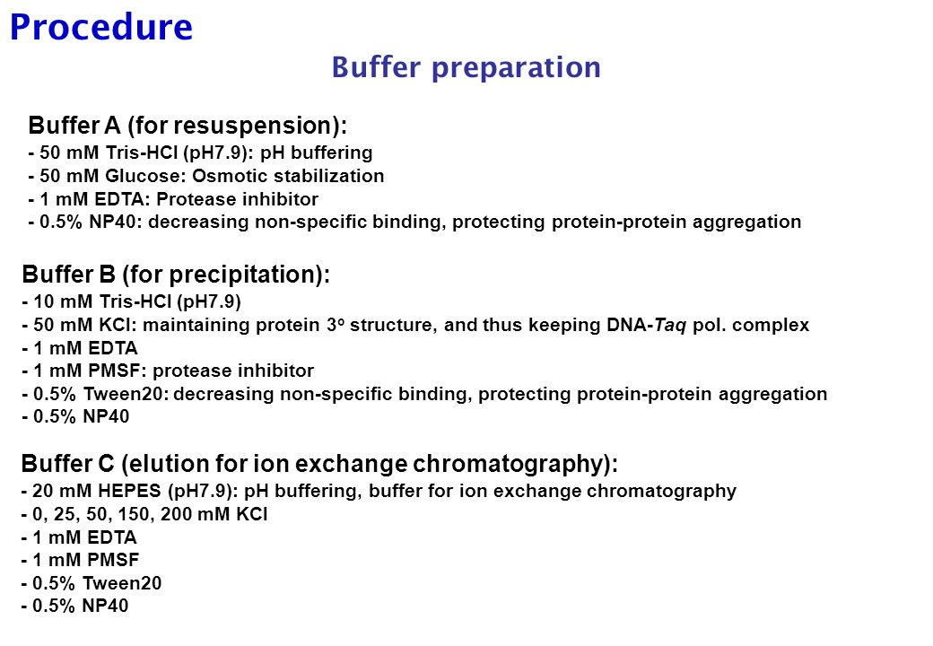 buffer preparation • a buffer is a solution that resists changes in ph upon the addition of limited amounts of acid or base there are two types of buffers: acidic buffer.