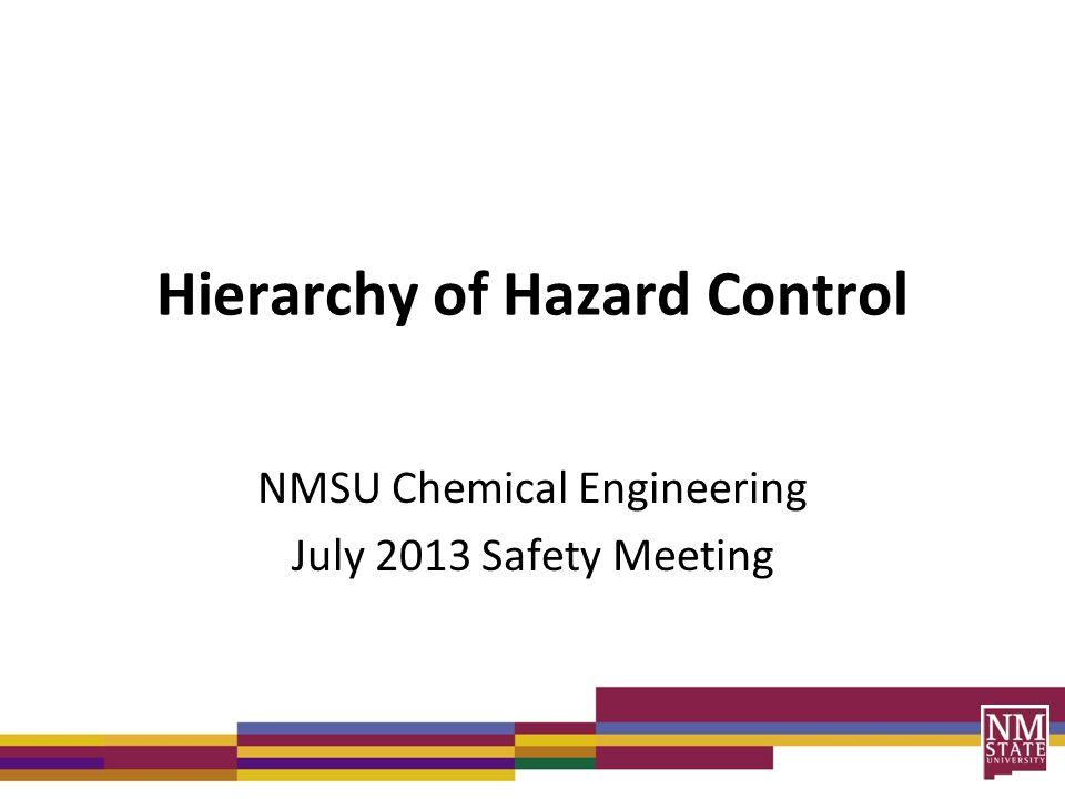 hierachy of hazard control