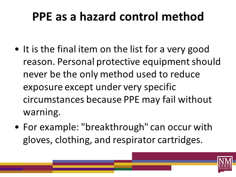 protective equipment is to reduce employee exposure to hazards essay The purpose of personal protective equipment is to reduce employee exposure to hazards when engineering controls and administrative controls are not feasible or effective to reduce these.