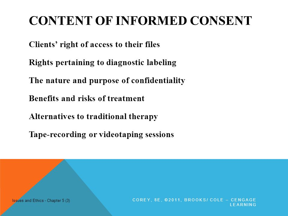 informed consent and clients rights By law, the client must be informed of their rights • a written summary of client  rights shall be made available to each client and legally responsible person (lrp .